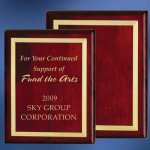 Piano Finish Wood Plaque with Brass Border Achievement Award Trophies