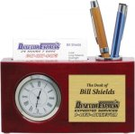 High Gloss Rosewood Desk Clock and Card Holder Secretary Gift Awards